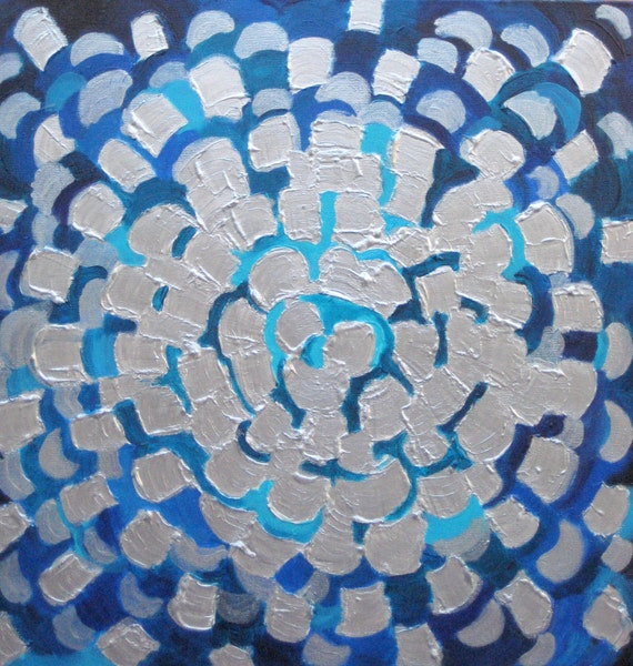 "ORIGINAL FLOWER abstract painting 18""x18""  blue silver textured painting by devikasart on Etsy"