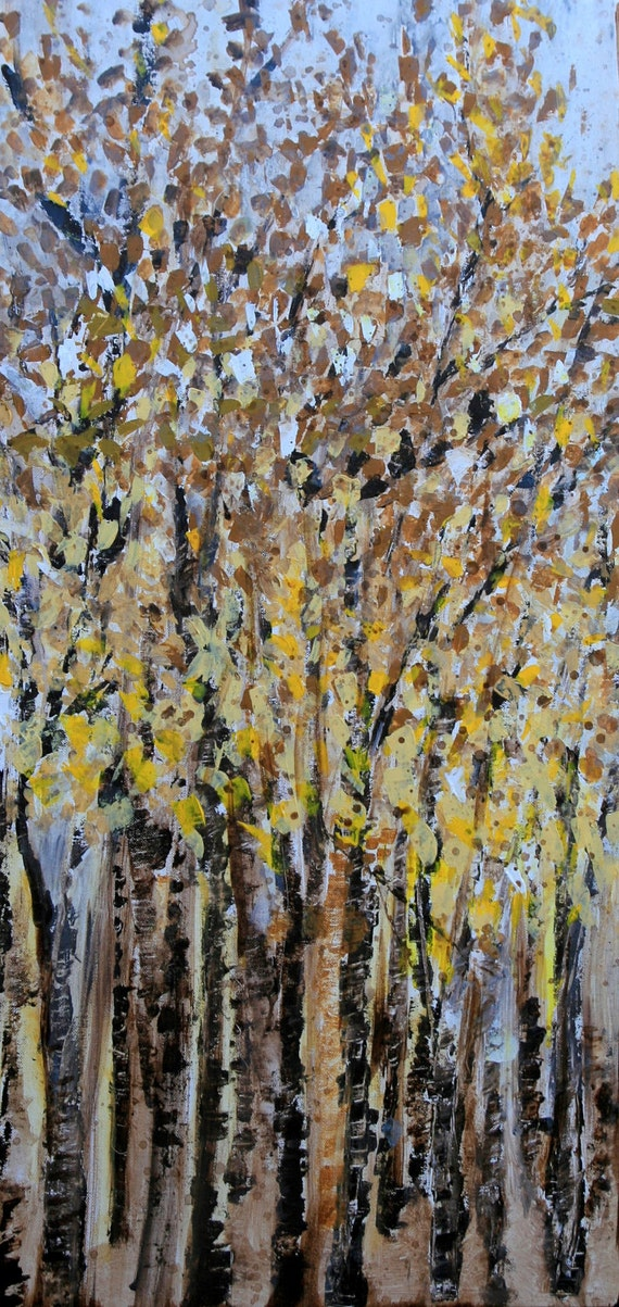 """RESERVED FOR DANIELLE.....Original abstract Trees painting -18""""x36"""" brown yellow ochre gray modern painting by devikasart on Etsy"""