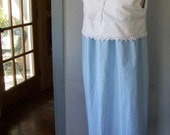 White & Blue Cotton Nightgown - Upcycled 1934 Vintage Crochet Lace Pillowcase