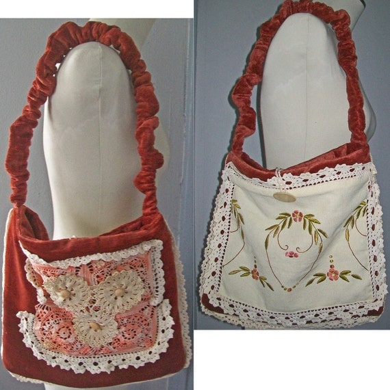 Hand-Made Purse -  Small Tote Bag - Vintage Lace, Velvet, Satin, Embroidery
