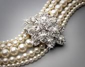 CAROLYN - Multi Strand Pearl Cuff Bridal Bracelet