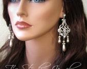 Chandelier Pearl Bridal Wedding Earrings - DENISE Rhinestone Earings