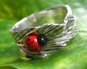 Banana Leaf Fine Silver Ring with Ladybug