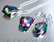 Peacock Purple Blue Green Bridesmaid Necklace and Earring Set - Peacock Theme Wedding