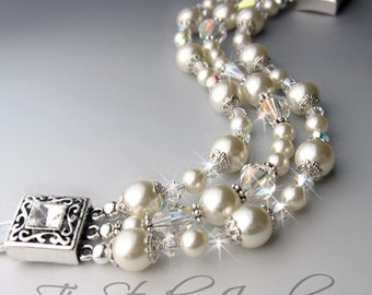 Romantic Swarovski Crystal and Pearl Bridal Bracelet Multi Strand with Antique Silver Clasp - ELIZABETH