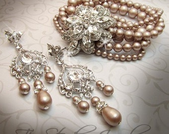 Vintage Look Pearl Bridal Cuff Wedding Bracelet with Crystal Brooch - CAROLYN