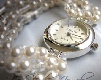 Pearl Bracelet Watch, Multi Strand with Swarovski Crystals Bridal Wedding Jewelry