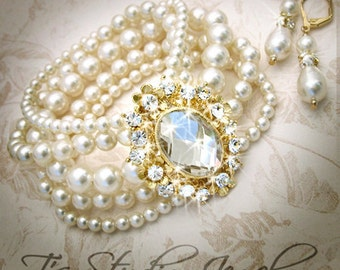 Gold Wedding Jewelry Multi Strand Swarovski Pearl Cuff Bridal Bracelet Bride Bridesmaid - GRACE