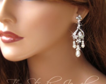 Bridal Earrings Chandelier Pearl- Silver and Crystal Ivory or White Pearls Wedding Earings Also available in Gold - JASMINE