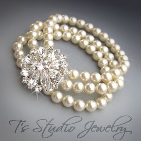 3-Strand Pearl Cuff Bridal Bracelet with Crystal Rhinestone Flower Centerpiece - KATARINA
