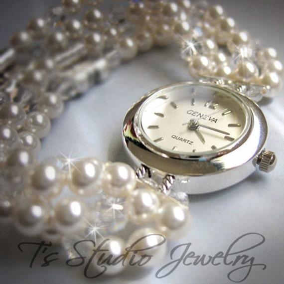 Pearl Bracelet Watch Multi Strand With Swarovski Crystals