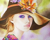 Renewal - Original Art giclee print - boho chic, spring, artwork, home decor - Lady in hat, poppy, colorful