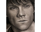 Sam Winchester - Jared Padalecki  - Matted 8x10 Giclee Print - Supernatural, Realistic charcoal drawing, celebrity portrait, Sammy