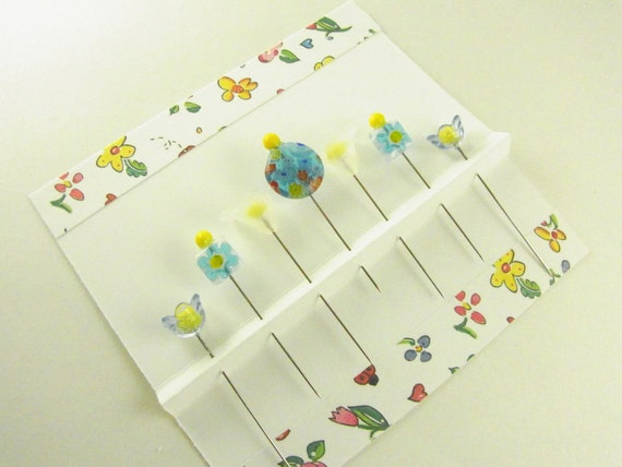 Aqua Millefiore Flower Decorated Sewing Pins Set of 7