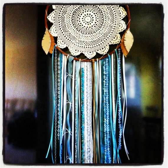 Items similar to doily dreamcatcher on etsy for How to make a double ring dreamcatcher