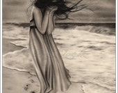 Lost Footsteps Art Print Glossy Emo Traditional Girl at Beach Ocean Zindy Nielsen