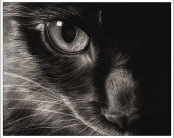 Black Beauty Cat Art Print Glossy Goth Zindy Nielsen