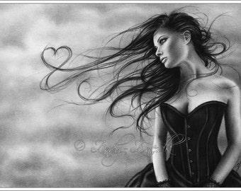 Watching it fly Love Heart Valentinge Art Print Emo Goth Girl Zindy Nielsen