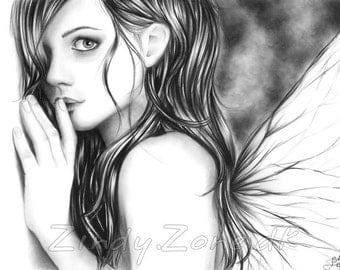 Ssh Now Fairy Butterfly Girl Fantasy Wings Art Print Glossy Zindy Nielsen
