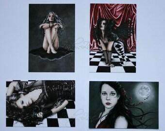 Postcard Pack Goth Girl Emo Butterfly Dark Angel Moon Ribbon