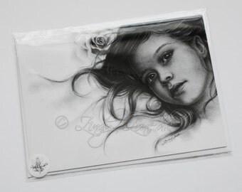 Winter Rose Child Girl Portrait Greeting Card