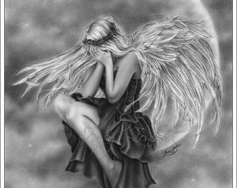 Crying Moon Angel Heaven Emo Goth Girl Fantasy Art Print Zindy