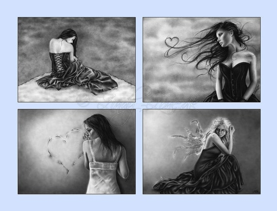 ACEO Print Pack Goth Emo Love Corset Girl Black White Art Zindy Nielsen