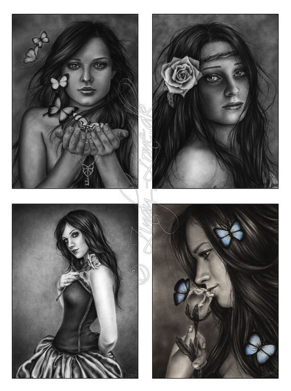 ACEO Print Pack Goth Emo Fairy Corset Girl Butterfly Key Rose Art Zindy Nielsen