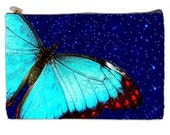 Butterfly Blue Cosmetic Bag, blue butterfly, butterfly cosmetic makeup pouch, blue butterfly, NirvanaRoad, Bags and Purses, zipperd pouch