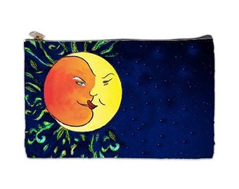 Solstice, Southern Solstice Cosmetic Bag, sun and moon, Equinox,  makeup bag, sun cosmetic makeup bag, solstice gift, NirvanaRoad pouch, sun