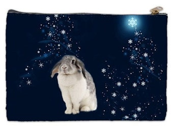 Bunny Cosmetic Bag, bunny, floppy ears, snow bunny, celestial bunny, starry night, cosmetic makeup bag
