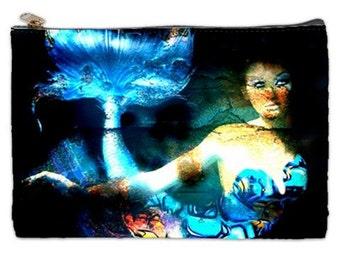 Mermaid and the Rusty Ship, Cosmetic Bag, blue  makeup bag, mermaids, fantasy, makeup bag, pouch, ships, nautical ships, cosmetic makeup bag