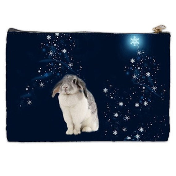 Bunny Cosmetic Bag, bunny, floppy ears, snow bunny, celestial bunny, starry night, cosmetic makeup bag