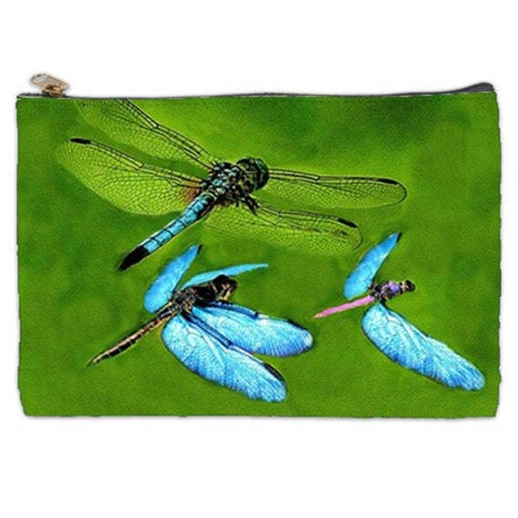Dragonfly Cosmetic Bag, damselfly, makeup bag, tote, dragonfly art, green bag, dragonflies, cosmetic makeup bag, NirvanaRoad makeup pouch