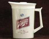 Antique SCHLITZ BEER Lidded Carafe Thermos Server Party Picnic or Tailgate Beverages Collectible Advertising