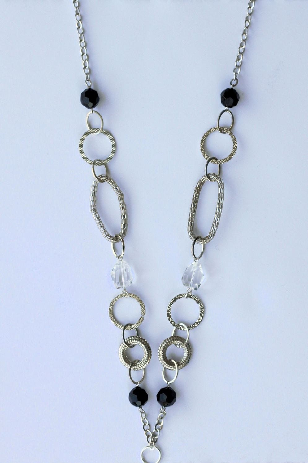 chunky black and clear beaded lanyard necklace with large