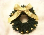 Christmas Wreath Pin Dark Green Felted Wool