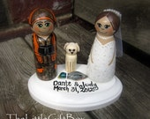 Wedding Cake Topper / Customized Wood Peg Dolls / Couple plus two pets with Plaque