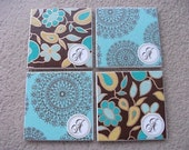 Custom Coaster Set - Turquoise and Brown