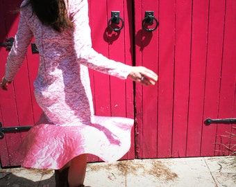 Pretty In Pink - Pink Lace and Satin Long Sleeved1980's Prom Dress