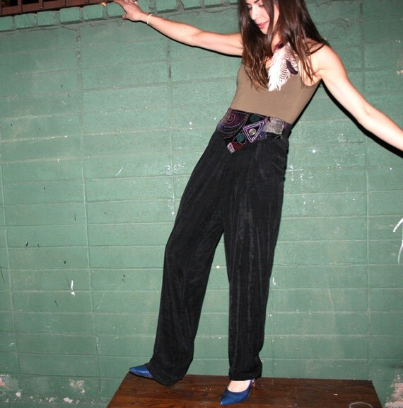 Black Harem Stretch Pants With Crazy Art Waistband - Vintage 1980s Size 6