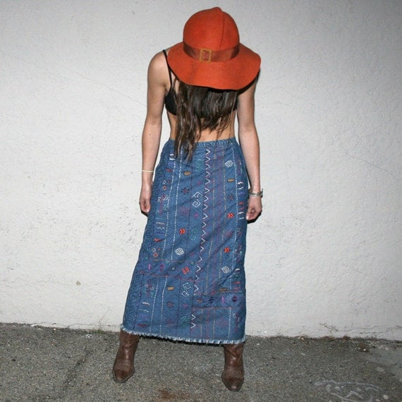 Jean Funky Tribal Embroidered Maxi Skirt - Vintage 1980s