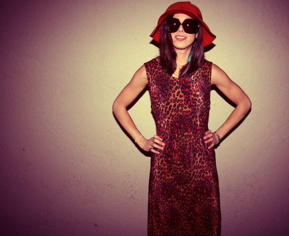 Brown and Red Leopard Print Maxi Dress - Vintage 1980s Tank Top Style