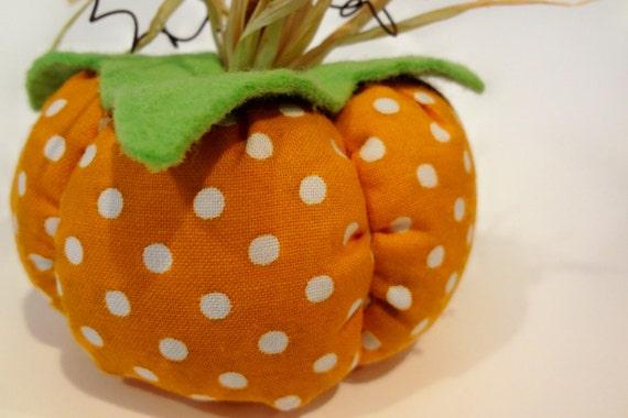 White Polka Dot Fabric Pumpkin, Fall, Autumn, Halloween, Harvest, Thanksgiving, Soft Sculpture, Home Decor