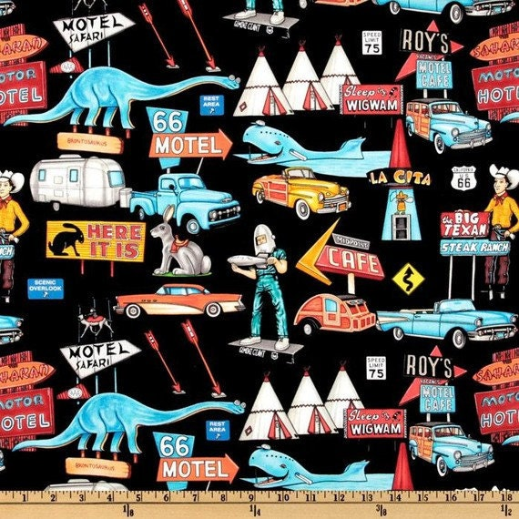 SALE - On The Road Pit Stops and Attractons Route 66 Black - Dan Morris for Robert Kaufman - One Yard - SALE