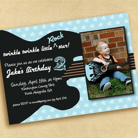 Rock 'N Roll Guitar Birthday Party Invitation By Punkinprints