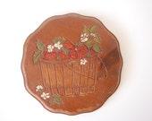 Vintage Wooden Strawberry Art Plaque