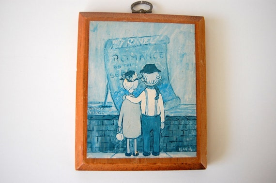 SALE Vintage Flavia Art  Plaques Set of 2