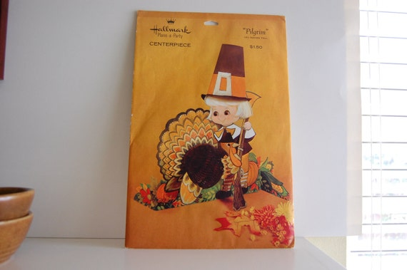 Vintage Hallmark Thanksgiving Plans A Party Centerpiece Pilgrim