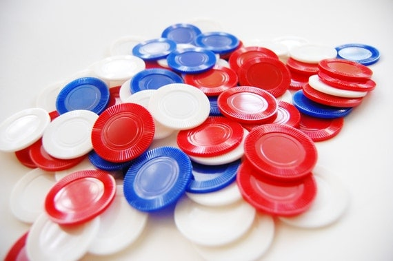 SALE Vintage Set of Poker Chips In Box Red White and Blue